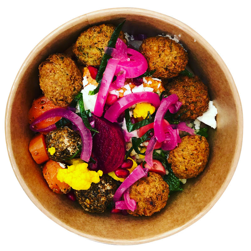 Superbowl falafel healthy food delivery Porthleven, Helston, Hayle and Long Rock Cornwall